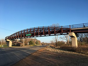 St. Bonifacius, Minnesota - Bridge over Minnesota State Highway 7 in St. Bonifacius, Minnesota, part of the Dakota Rail Regional Trail, a biking and hiking trail