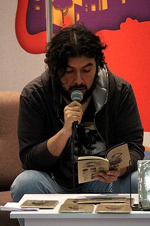Daniel Rojas Pachas presentando poemario en FENAL 2018