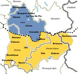 Carte Linguistique Du Dauphin Le Dauphinois Est Un Dialecte Arpitan Parl Dans Nord La Moiti Sud Quant Elle Domaine