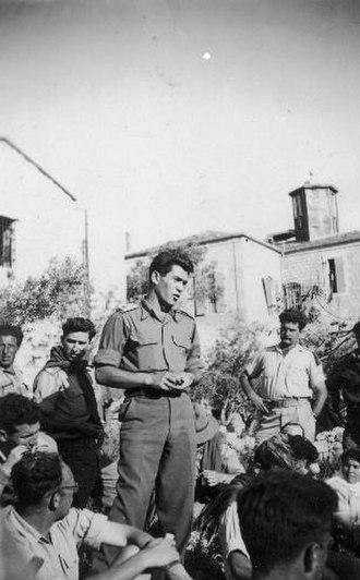 David Elazar - David Elazar addressing members of Harel Brigade. 1948. Rafael Eitan standing on left.