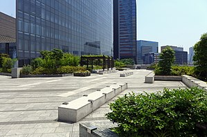 Dentsu Building - Image: Dentsu Headquarters Building Outside space 2015