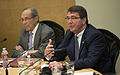 Deputy Secretary of Defense Ashton B. Carter, right, and former Secretary of Defense William Perry meet with Bay Area women CEOs and business leaders at Stanford University in a discussion about nuclear non-proliferation 130417-D-NI589-276.jpg