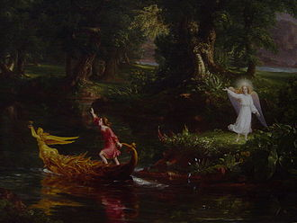 The Voyage of Life - Detail of Thomas Cole's The Voyage of Life: Youth: shows the boy departing in the boat; the angel bids him farewell from the shore.
