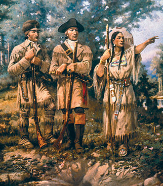 Sacagawea - Sacagawea (right) with Lewis and Clark at the Three Forks, mural at Montana House of Representatives