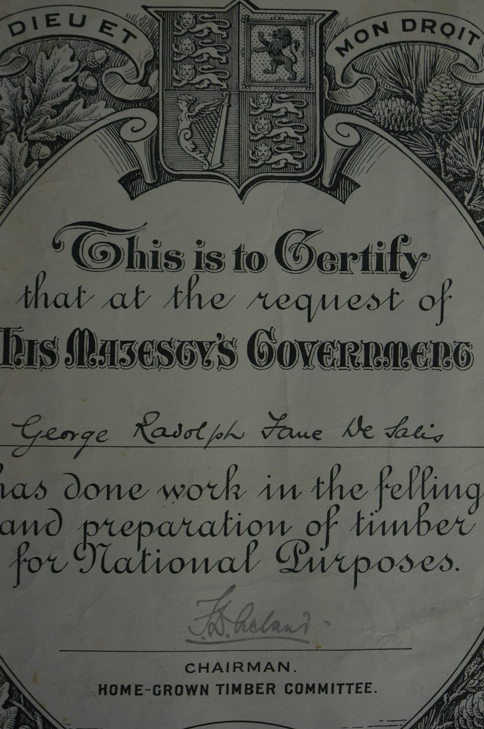 Detail of a certificate awarded by the Home-Grown Timber Committee, September 1916