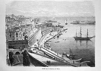 Victoria Gate (Valletta) - View of Valletta in 1874, prior to the construction of Victoria Gate. Ġnien is-Sultan and the drawbridge of Del Monte Gate can be seen to the lower left.