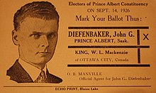 Election flyer naming Diefenbaker and with his photograph, with a recreation of the ballot, urging his election. His hair is still short and dark, and is combed back, and his face appears much the way it will in later years. He wears a jacket and tie.