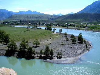 Altai flood - Diluvial bars in Central Altay Mountains, Katun River, Little Yaloman Village. July 2011