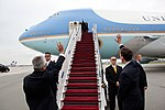 Director of Protocol Krzystof Krajewski and Ambassador Lee Feinstein wave to President Barack Obama as he boards Air Force One.jpg