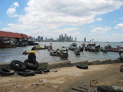 A view of the high rise of modern Panamá City, across the Bahía de Panamá, from the old harbour at Casco Viejo