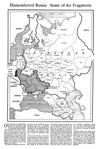 Ukraine after the Russian Revolution - February 1918 article from The New York Times showing a map of the Russian Imperial territories claimed by Ukraine People's Republic at the time, before the annexation of the Austro-Hungarian lands of the West Ukrainian People's Republic. The Ukraine depicted on this map is a rump state that the German led armies of the Central Powers had removed from Russian domination just before the March 3, 1918, signing of the Treaty of Brest-Litovsk granting Ukraine independence from Russia. On April 29, 1918, the Ukrainian People's Republic was dissolved.