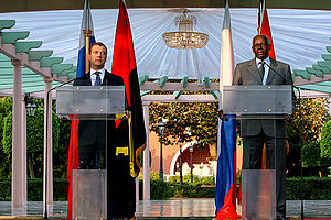 José Eduardo dos Santos - Dos Santos with Russian President Dmitry Medvedev whilst the latter was on a state visit to Angola on 26 June 2009