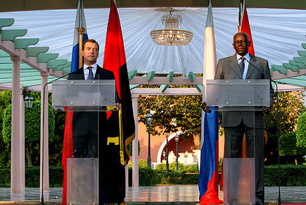 Dos Santos with Russian President Dmitry Medvedev whilst the latter was on a state visit to Angola on 26 June 2009 - José Eduardo dos Santos