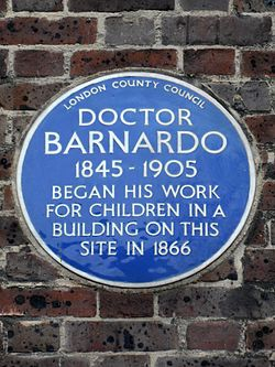 Doctor barnardo 1845 1905 began his work for children in a building on this site in 1866