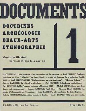 Documents (magazine) - Cover of Documents No 1, 1929