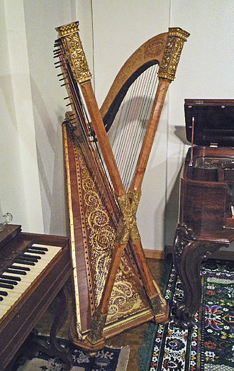 National Music Museum - Double chromatic harp, built ca. 1890 by Henry Greenway, Brooklyn, New York; one of two extant instruments of this type.