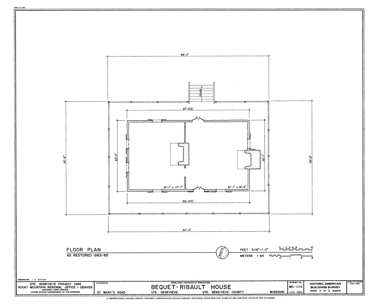 File drawing of the restored floor plan of the bequet for Floor plan sketch