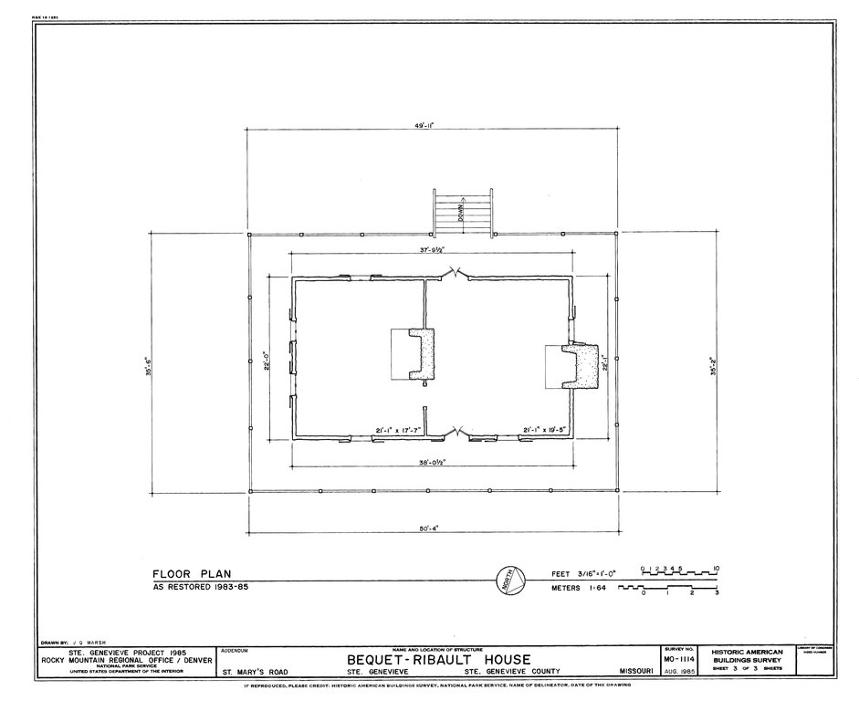 File drawing of the restored floor plan of the bequet for Floor plan drawer