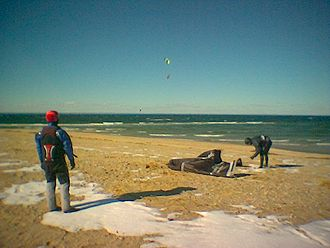 Dry suit - Kitesurfers wearing dry suits on Long Island in winter when the air and water temperatures are near 32 °F (0 °C).