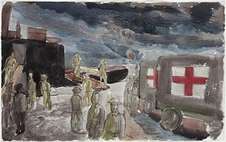 Great Bardfield Artists - Edward Bawden's Dunkirk- Embarkation of Wounded, May 1940 Imperial War Museum