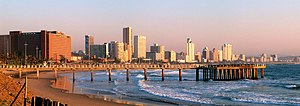 English: Skyline of Durban, South Africa, in t...