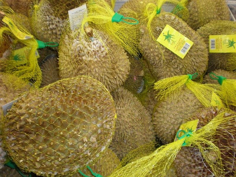 File:Durians in netting packaging.JPG
