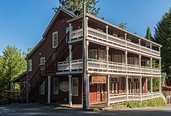 Dutch Flat Hotel, built in 1852 when Dutch Flat was one the largest hydraulic gold mining towns in California