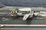 E-2C Hawkeye of VAW-115 lands on USS Ronald Reagan (CVN-76) on 7 June 2016.JPG