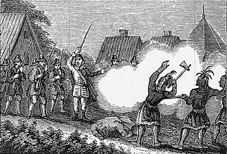 King Philip's War - Colonists defending their settlement (non-contemporary depiction)