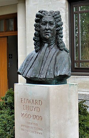 Edward Lhuyd - Bust of Edward Lhuyd outside the University of Wales Centre for Advanced Welsh and Celtic Studies, Aberystwyth