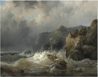 Egide Linnig - A shipwreck off a rocky coast