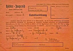 Eintrittserklaerung in die Hitler-Jugend Anton Huttenlocher, Public domain, via Wikimedia Commons