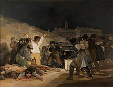 A scene of an execution at night with a city in the background. On the left is a group of civilians in varying states of despair. The focal point is a man whose white shirt is lit by a lantern. He throws his arms in the air and glares at the firing squad. Corpses lie on the bloodstained ground. On the right a row of soldiers, seen from the back, take aim.