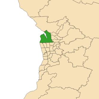 Electoral district of Port Adelaide - Electoral district of Port Adelaide (green) in the Greater Adelaide area