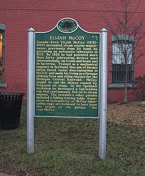 Elijah McCoy - McCoy historical marker, Ypsilanti