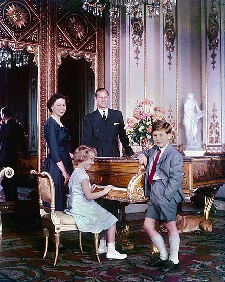 Prince Charles with his parents and sister in October 1957 Elizabeth, Philip, Charles and Anne.jpg