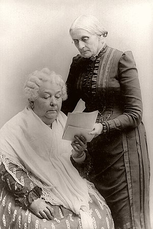 Elizabeth Cady Stanton (seated) with Susan B. ...