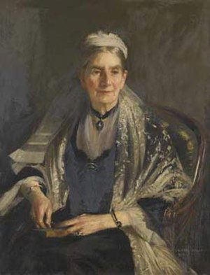 George Holt (merchant) - Presentation portrait on the 80th birthday of Elizabeth Holt, widow of George Holt. Oil on canvas, 1913, by George Henry