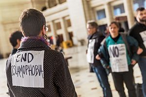 Islamophobia in the United States - A silent protest at Union Station against Islamophobia in Washington D.C.