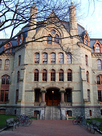 Claudia Cohen Hall, formerly Logan Hall, home of the College of Arts and Sciences and former home of the Wharton School and originally, the medical school Entrance to Logan Hall.jpg