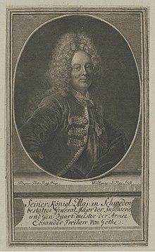 Johann Friedrich Eosander, Kupferstich von Johann Georg Wolfgang nach Antoine Pesne (Quelle: Wikimedia)