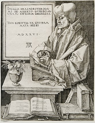 Erasmus - Portrait of Desiderius Erasmus by Albrecht Dürer, 1526, engraved in Nuremberg, Germany.