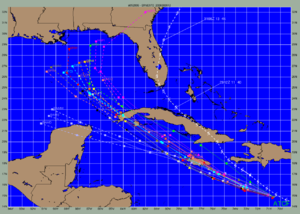 Atmospheric model - Model spread with Hurricane Ernesto (2006) within the National Hurricane Center limited area models