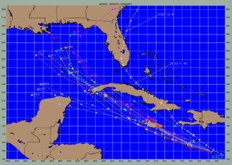 Tropical cyclone forecast model - Significant track errors still occur on occasion, as seen in this Ernesto (2006) early forecast.  The NHC official forecast is light blue, while the storm's actual track is the white line over Florida.