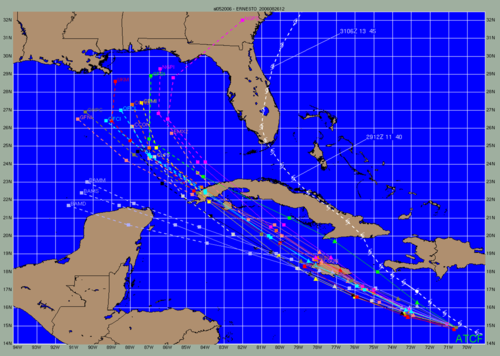 Significant errors in track still occur on occasion, as seen in one of Ernesto's (2006) early forecasts. The National Hurricane Center's official forecast is in light blue. Ernesto2006modelspread.png