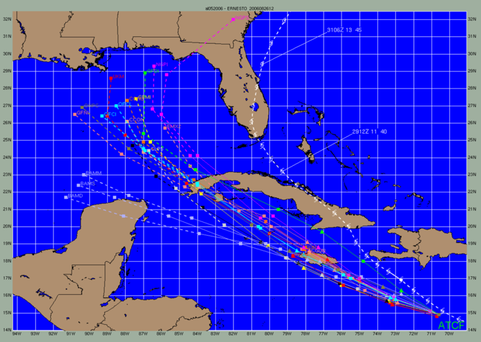 This is how forecast model tracks appear within ATCF. This example is from 2006 Ernesto's first advisory. The NHC official forecast is light blue, while the storm's actual track is the white line over Florida. Ernesto2006modelspread.png