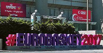 EuroBasket 2017 - A EuroBasket 2017 hashtag sign outside Istanbul's Abdi İpekçi Arena.