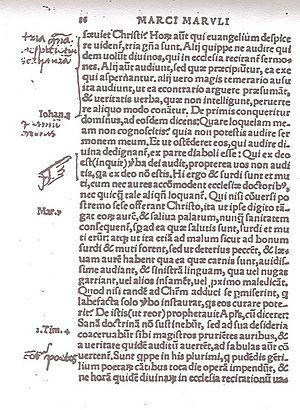 A page of Marulić's Evangelistarium annotated ...