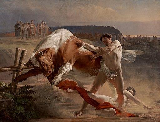 Evgraf Semenovich Sorokin - Ian Usmovets Stopping an Angry Bull