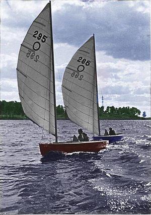 O-Jolle - O-Jolle former Olympic dinghy on Klyazminskoye reservoir near Moscow